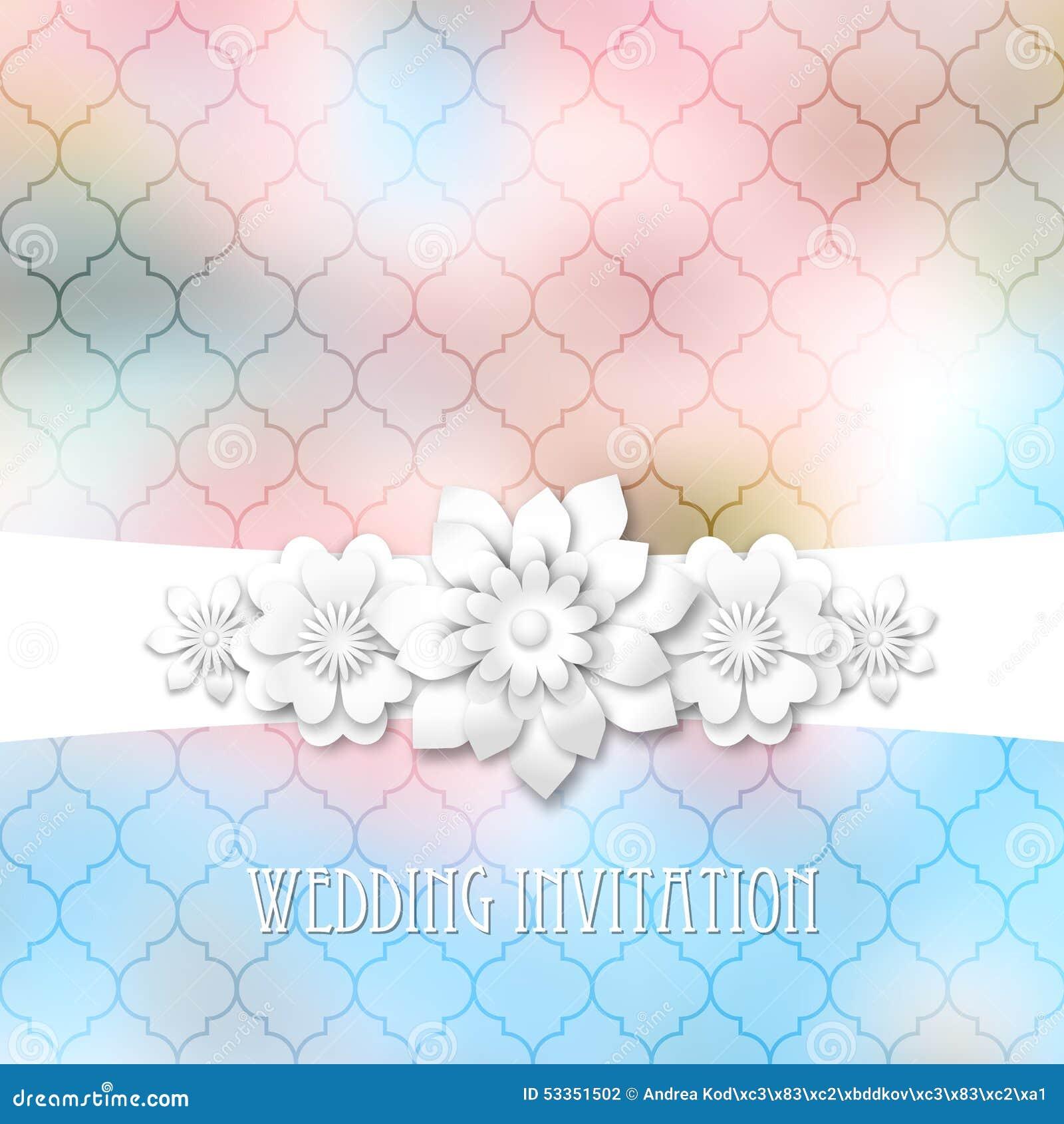 Bokeh Flowers Wedding: Wedding Invitation Stock Vector