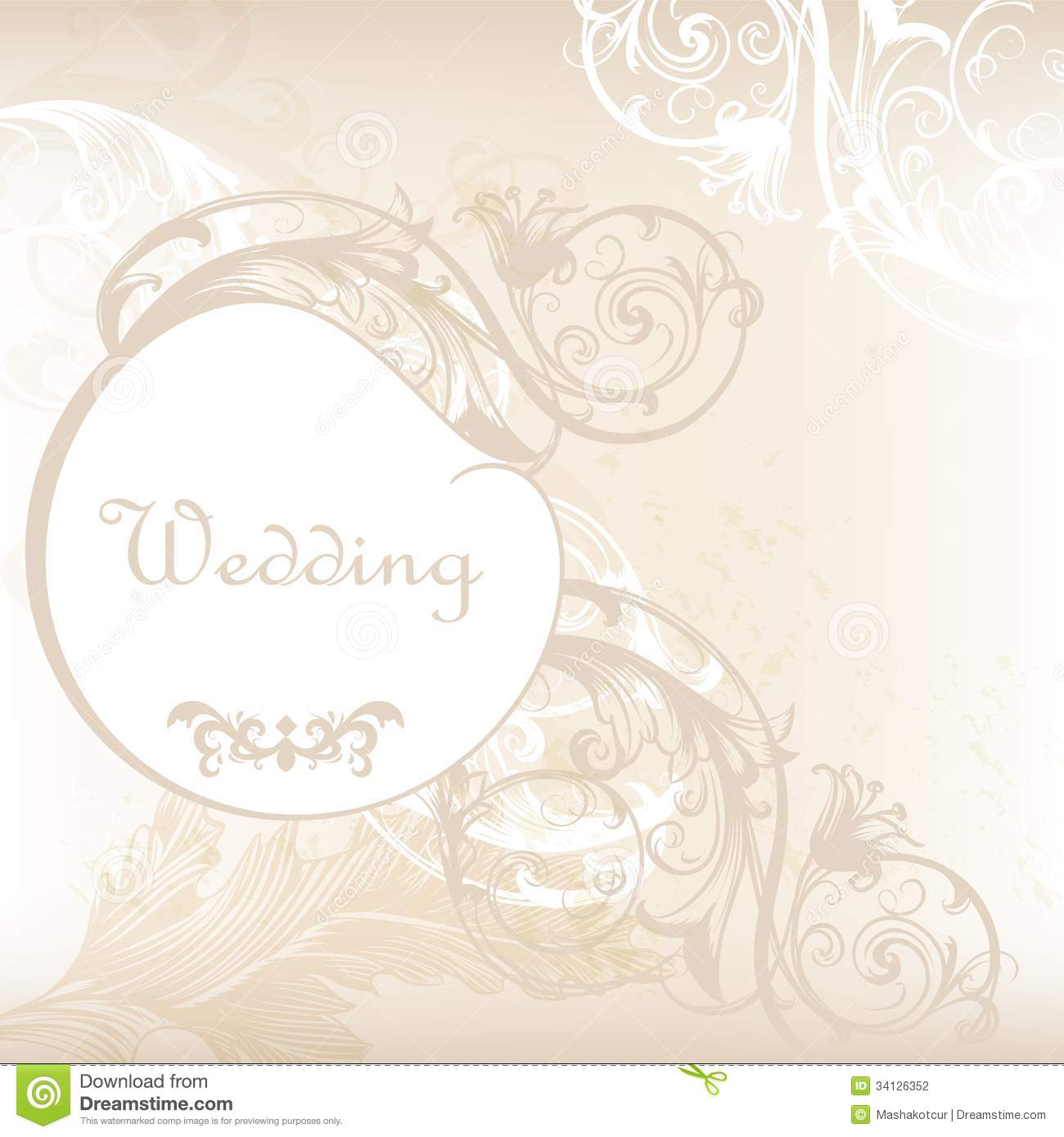 Wedding Invitation Card In White And Grey With Floral Ornament Stock ...
