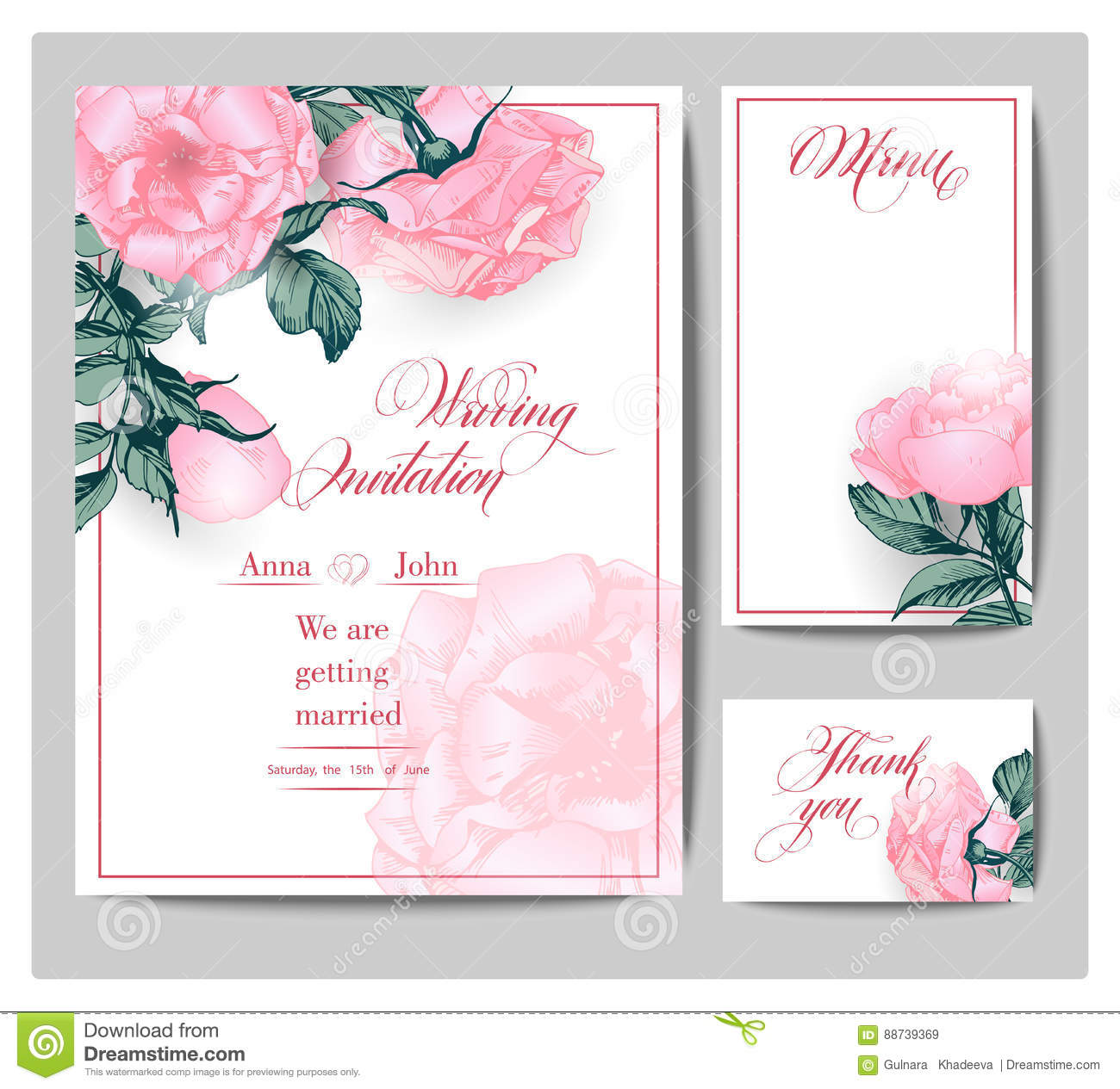 Wedding Invitation Cards With Blooming Roses Use For Boarding Pass