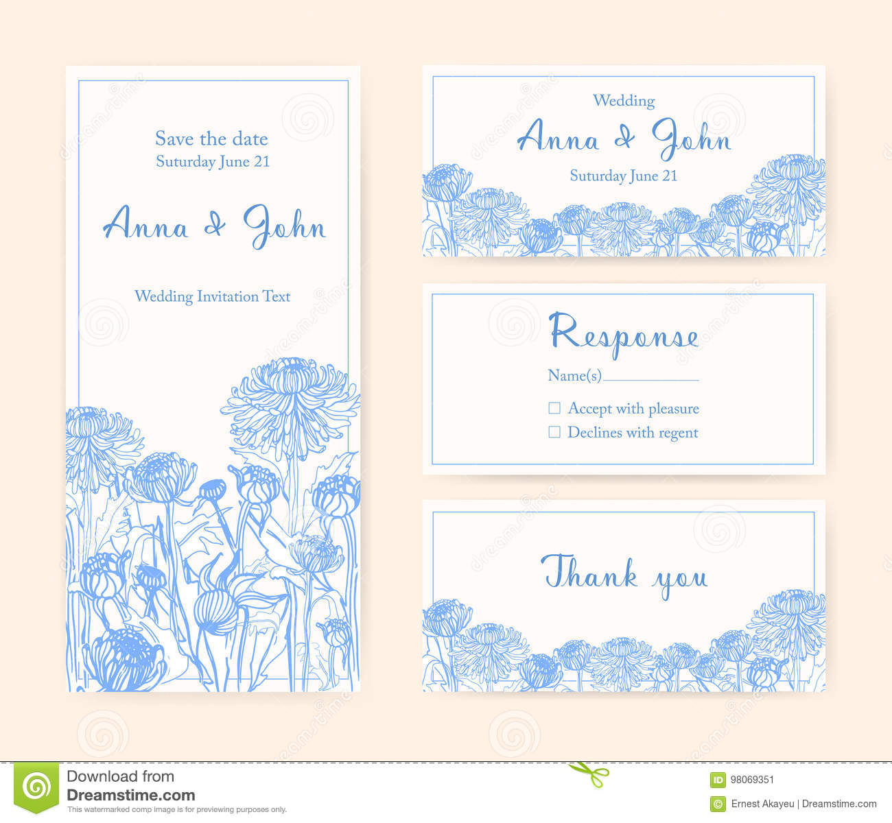 Wedding invitation cards with chrysanthemum. Different vertical and horizontal compositions. Monochrome vector