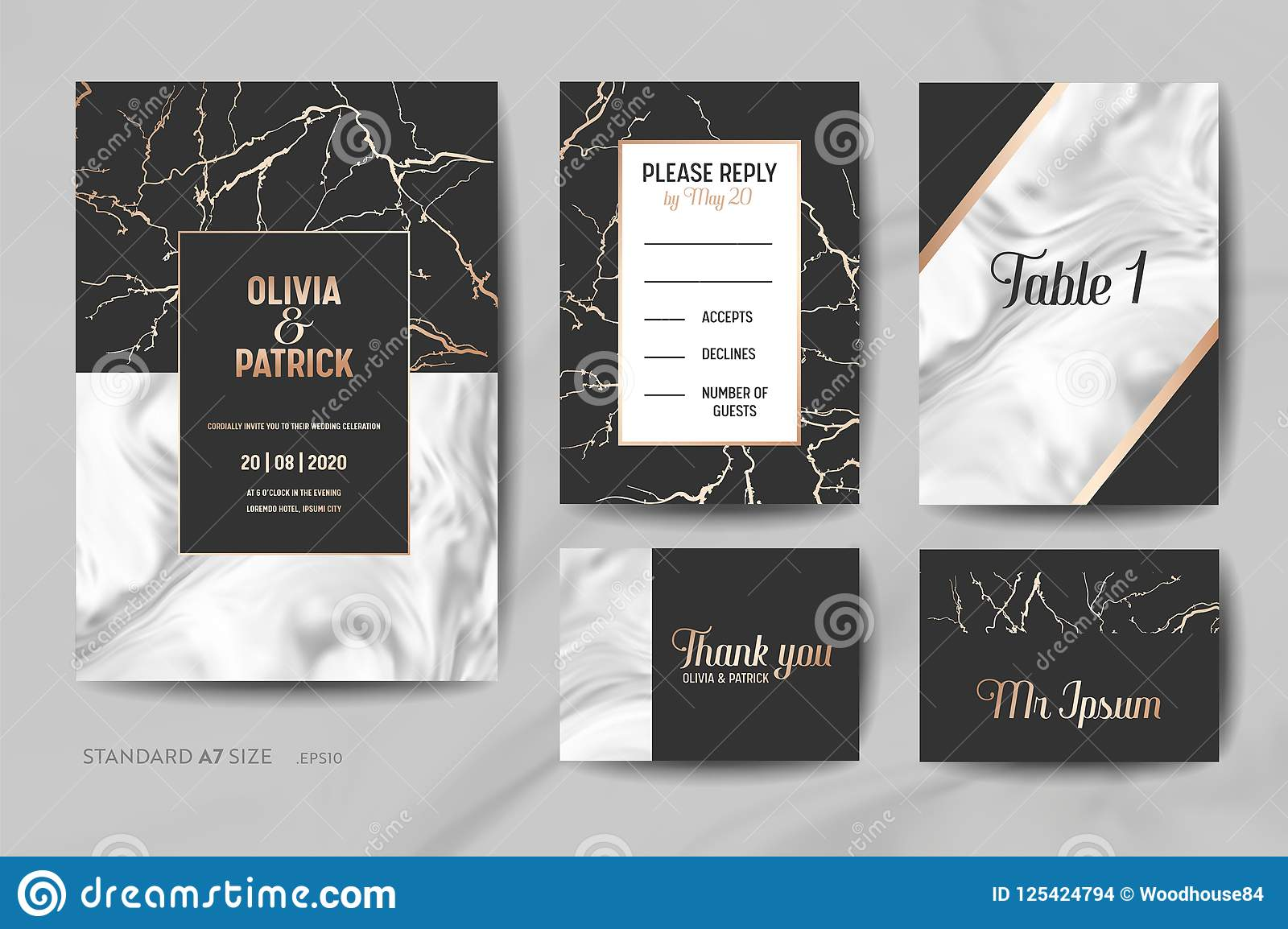 Wedding Invitation Cards Collection. Save the Date, RSVP, Signs with trendy marble texture background geometric frame