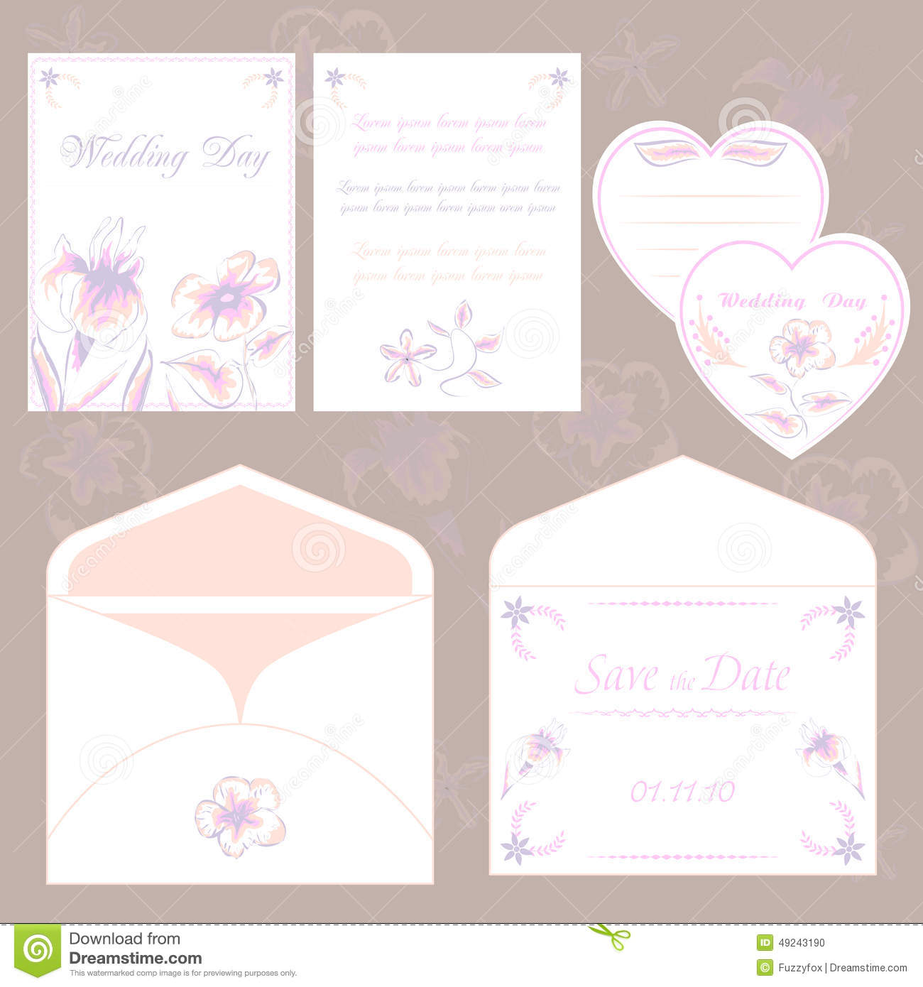 Wedding Invitation Cards And Envelope, Wedding Set Elegant Flora ...