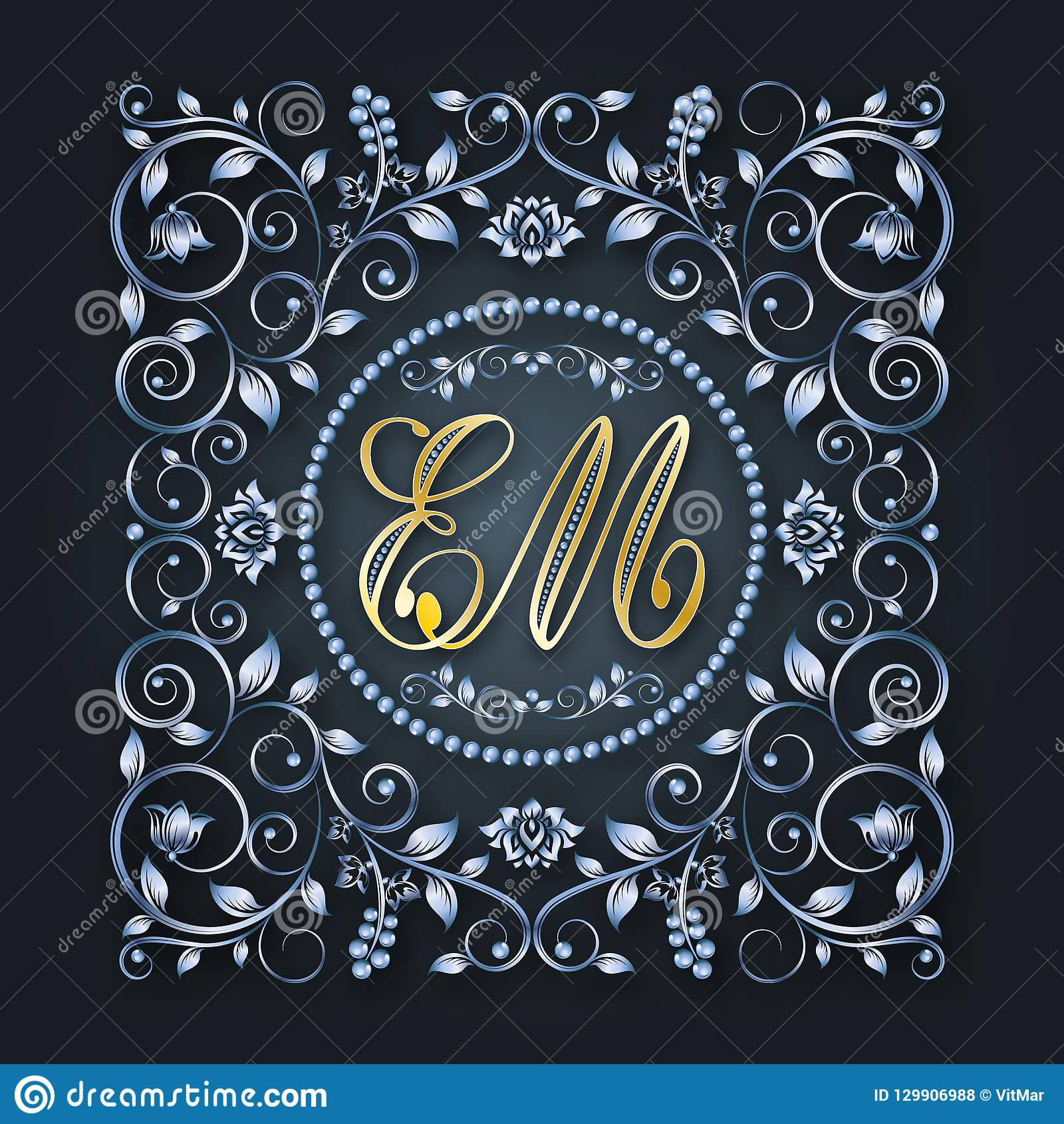 Vector Monogram And Initials Silver Decorative Frame