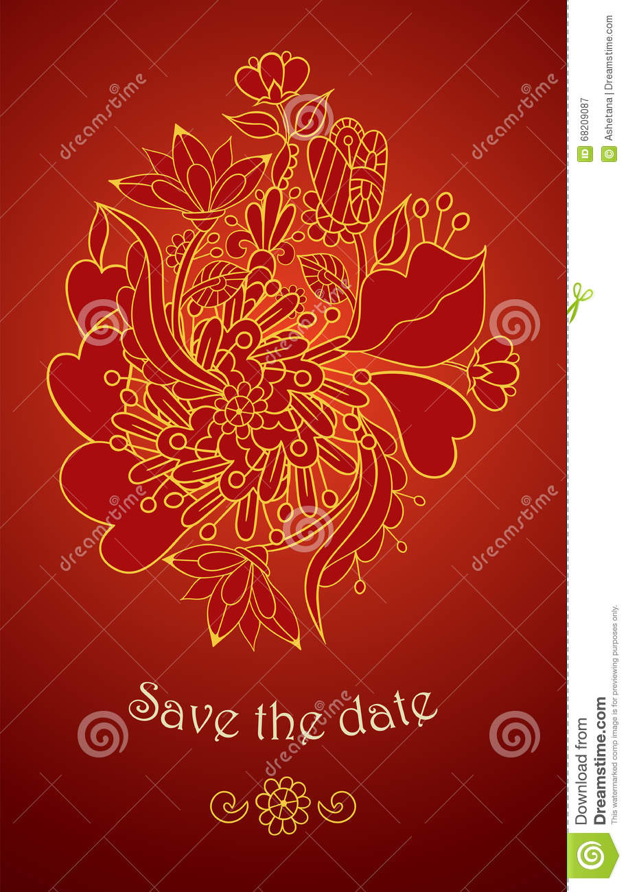 Wedding Invitation Cards With Floral Elements. Stock Vector ...