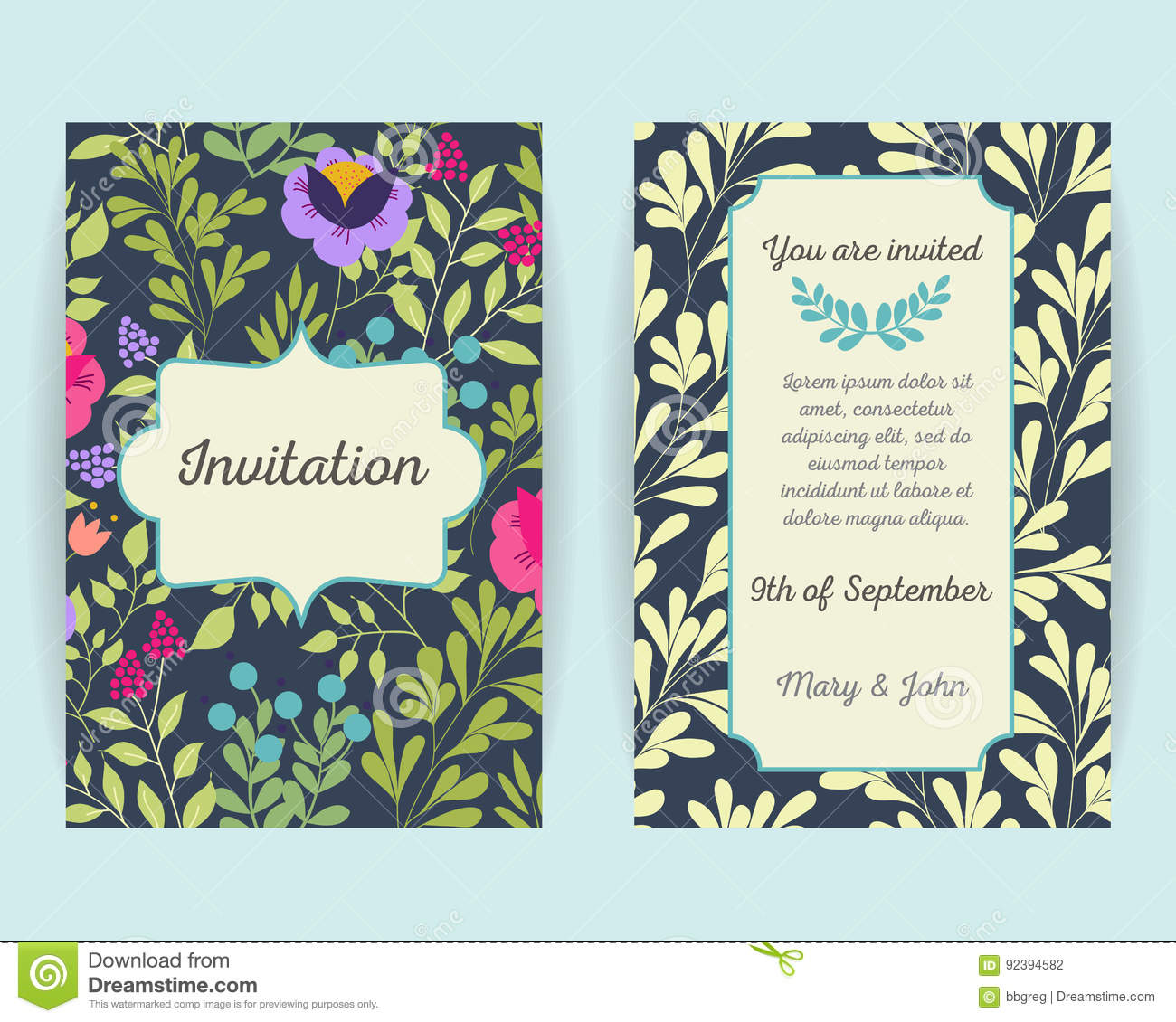 Wedding Invitation Cards With Flowers Berries And Leaves Use For