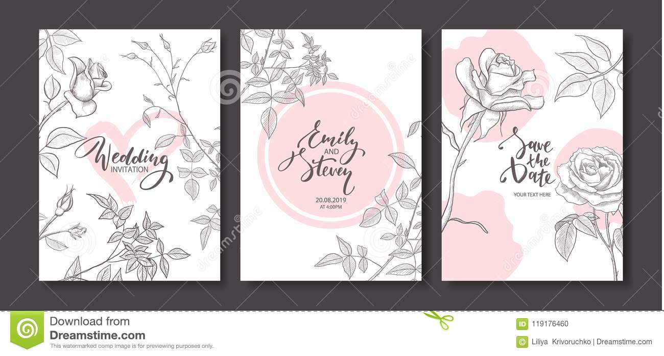 Wedding invitation cards with hand drawn roses.Floral poster, invite. Vector decorative greeting card,invitation design background