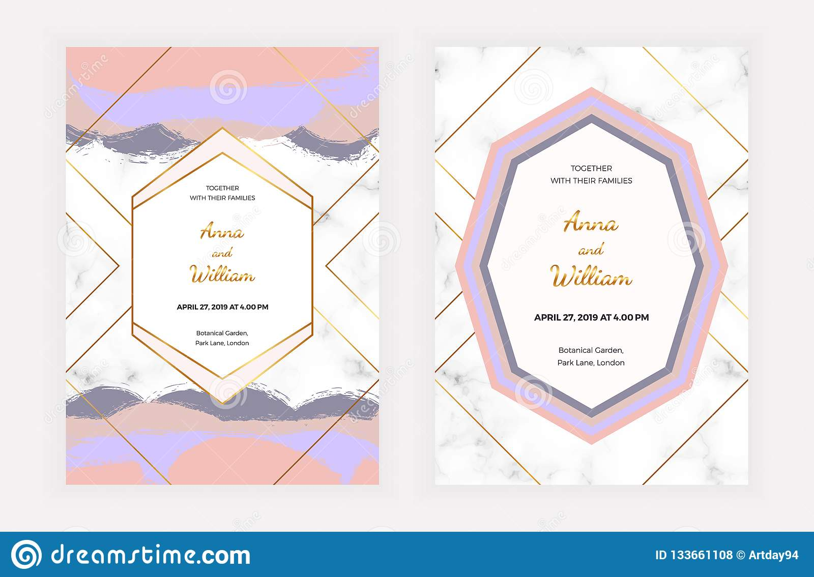 Wedding Invitation Cards With Pink Blue Brush Paint Stroke