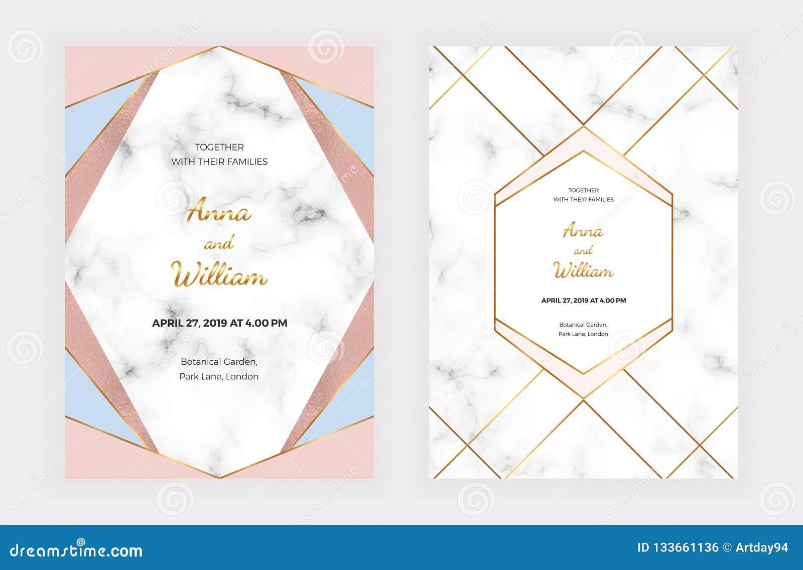 Wedding Invitation Cards With Pink Blue Geometric Design