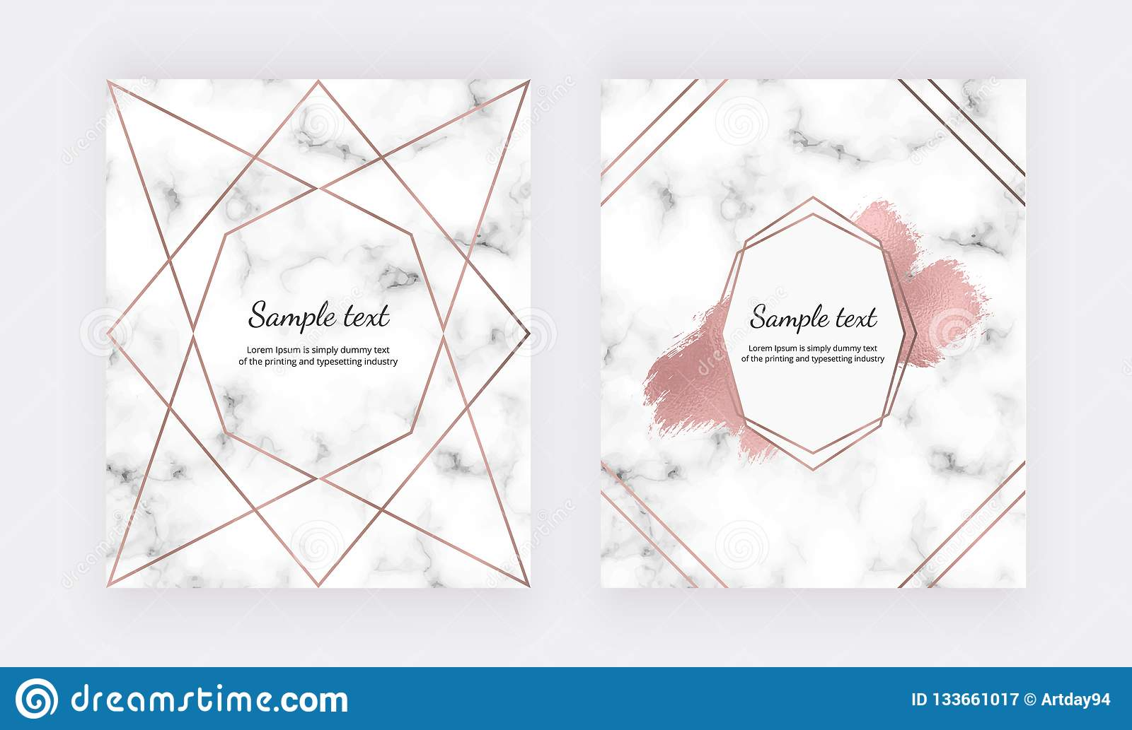 Wedding invitation cards with rose gold geometric design, polygonal lines and foil brush paint stroke on the marble texture. Backg