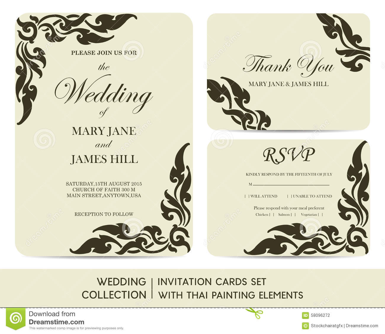 Thai Wedding Gifts: Wedding Invitation Cards Set With Thai Painting Stock