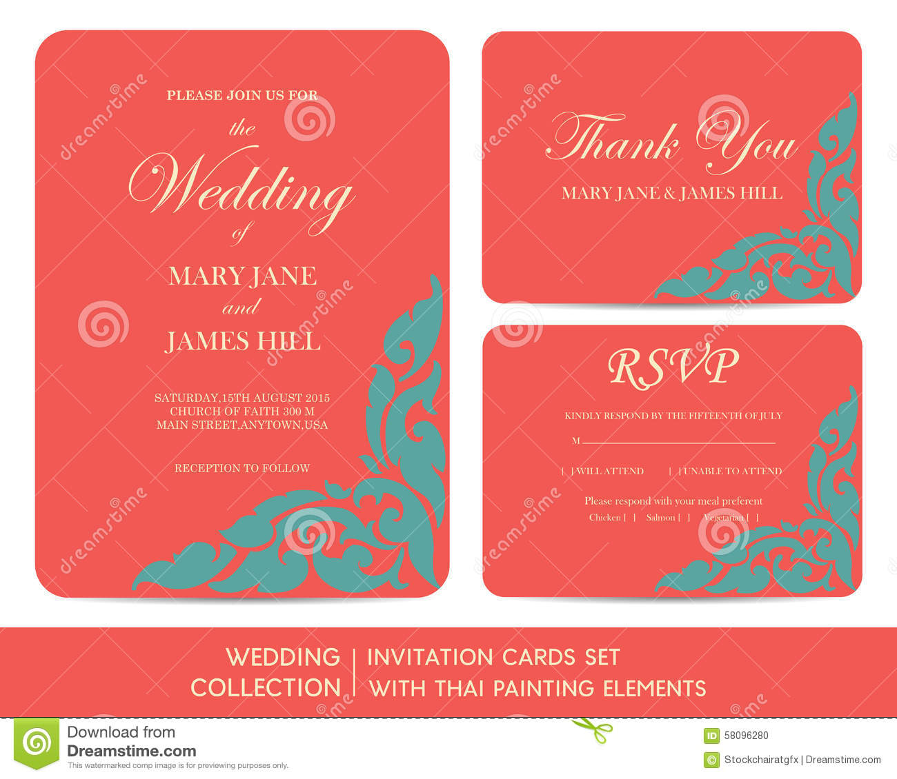 Wedding Invitation Cards Set With Thai Painting Stock Vector ...