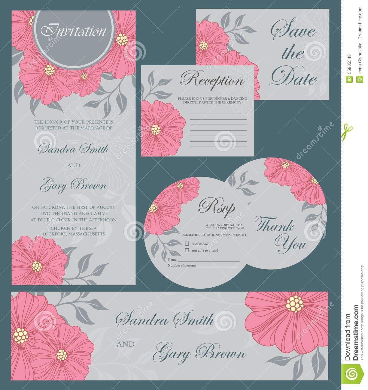 wedding invitation cards set thank you card save date card rsvp card