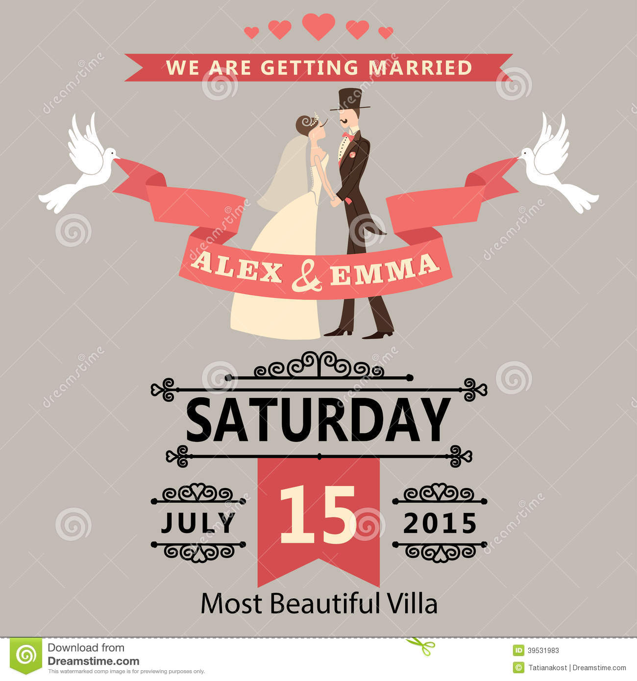 Wedding Invitation With Cartoon Bride And GroomRe Stock Vector