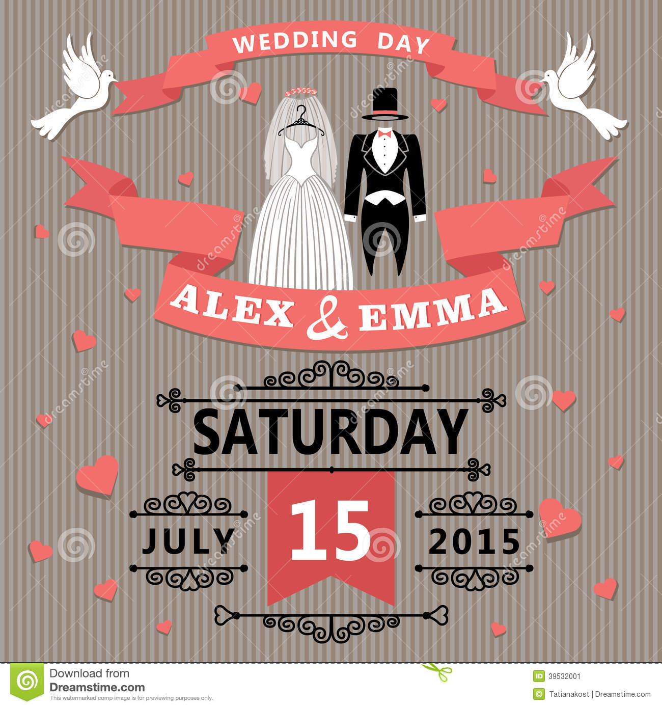 wedding invitation with cartoon dress of bride and stock