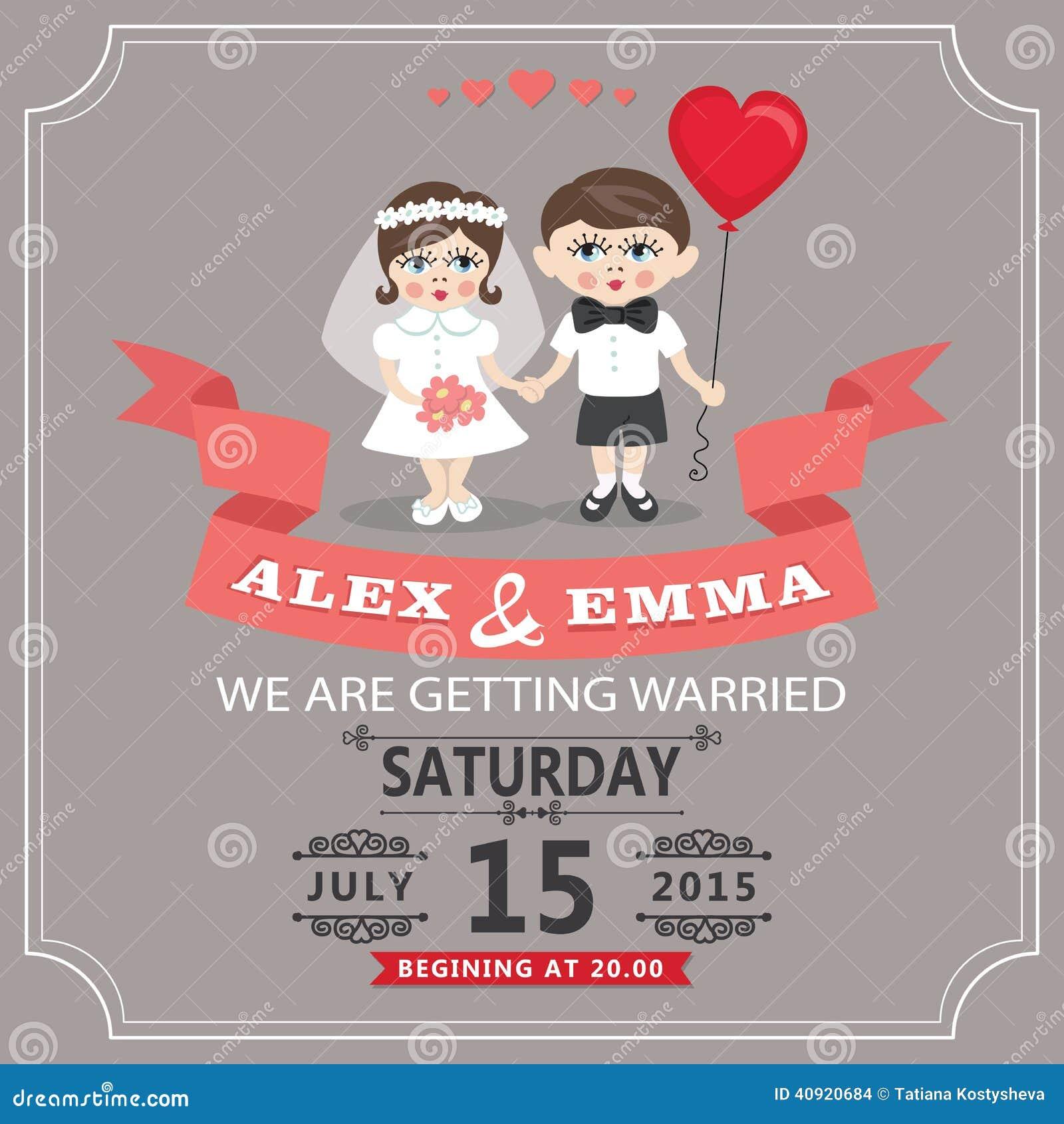 wedding invitation with cartoon european baby bride and