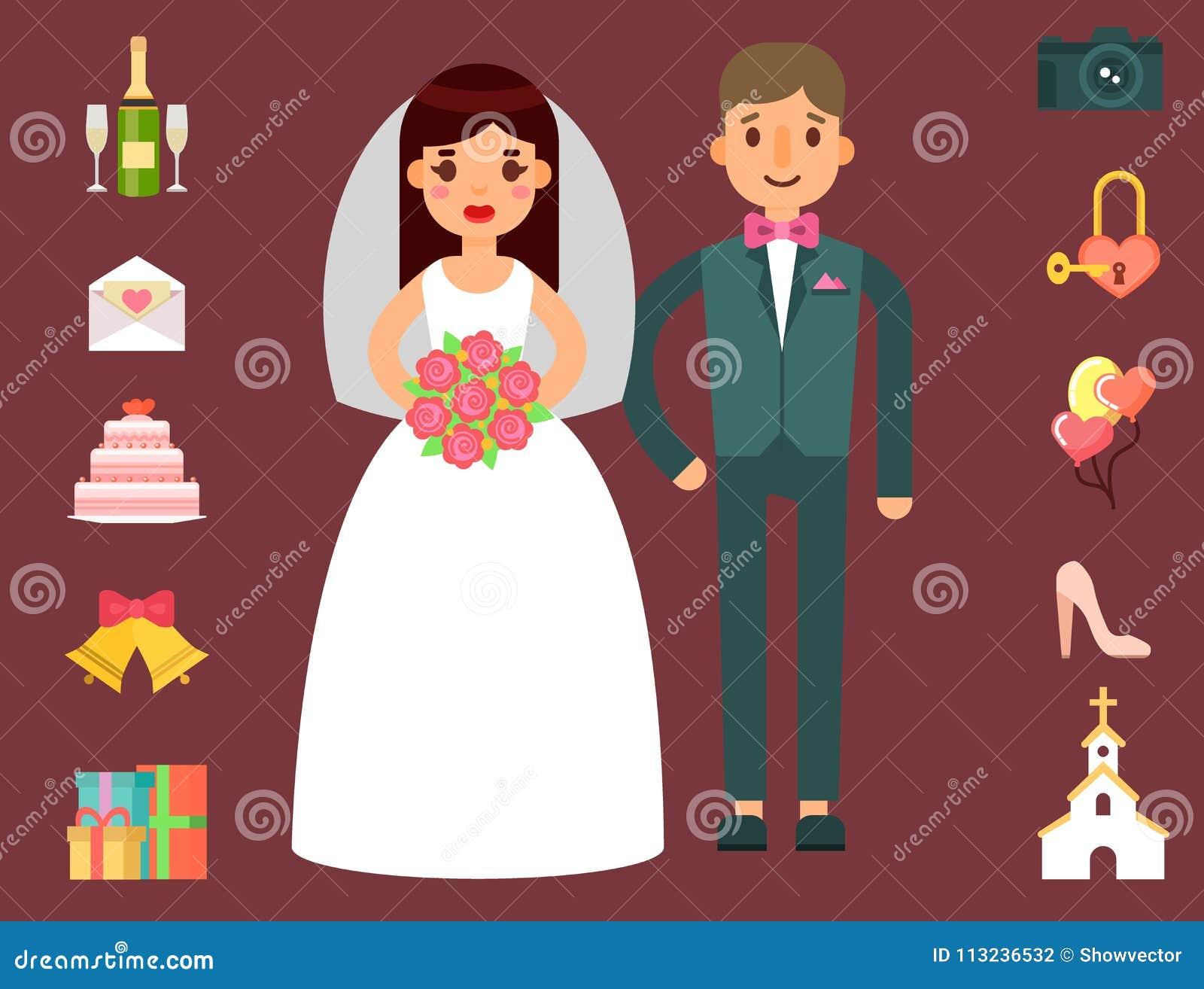 Wedding Invitation Celebration Set Flat Anniversary Romance ...