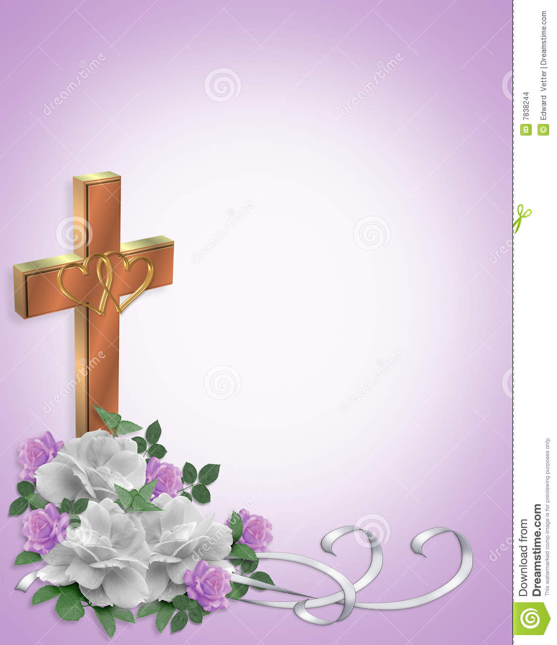 Wedding Invitation Christian Cross Stock Illustration - Illustration ...