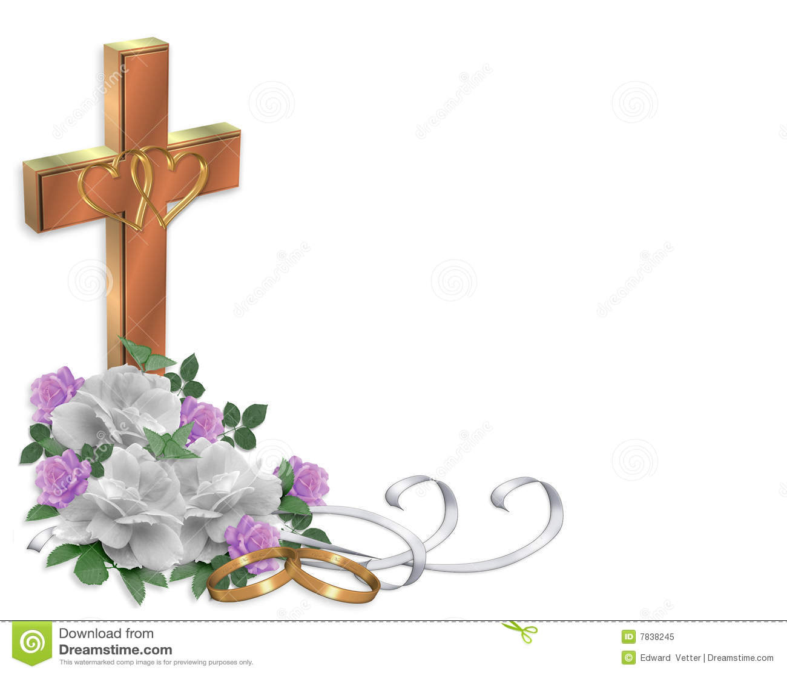 Wedding Invitation Christian Cross Stock Illustration - Illustration ...