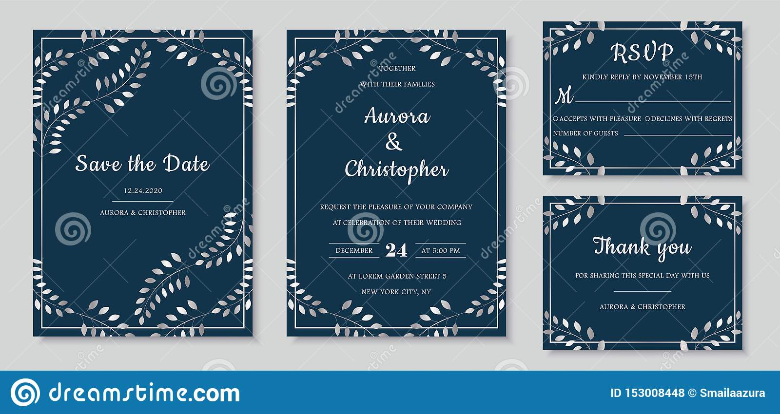 Elegant Wedding Invitations Set With Silver Floral Motives And Marine Blue  Background. Stock Vector - Illustration of modern, greenery: 153008448