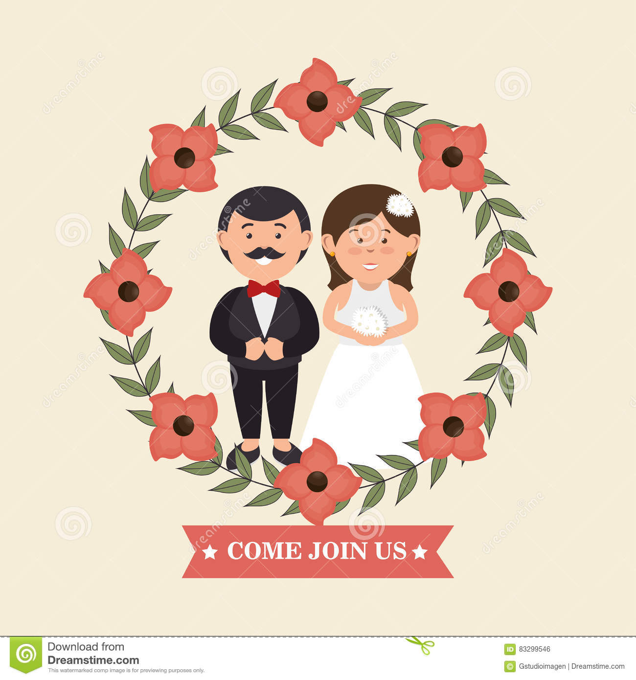 Wedding Invitation With Couple And Crown Flowers Design Graphic ...