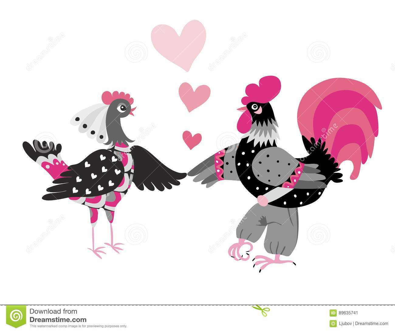 Wedding Invitation With Cute Cartoon And Hen  Year Of The