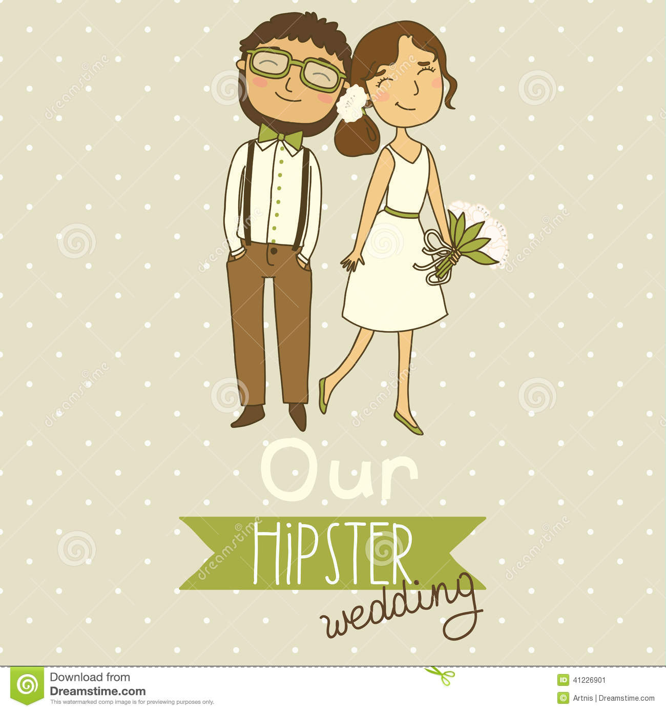 Wedding Invitation With A Cute Couple Stock Vector - Image ...
