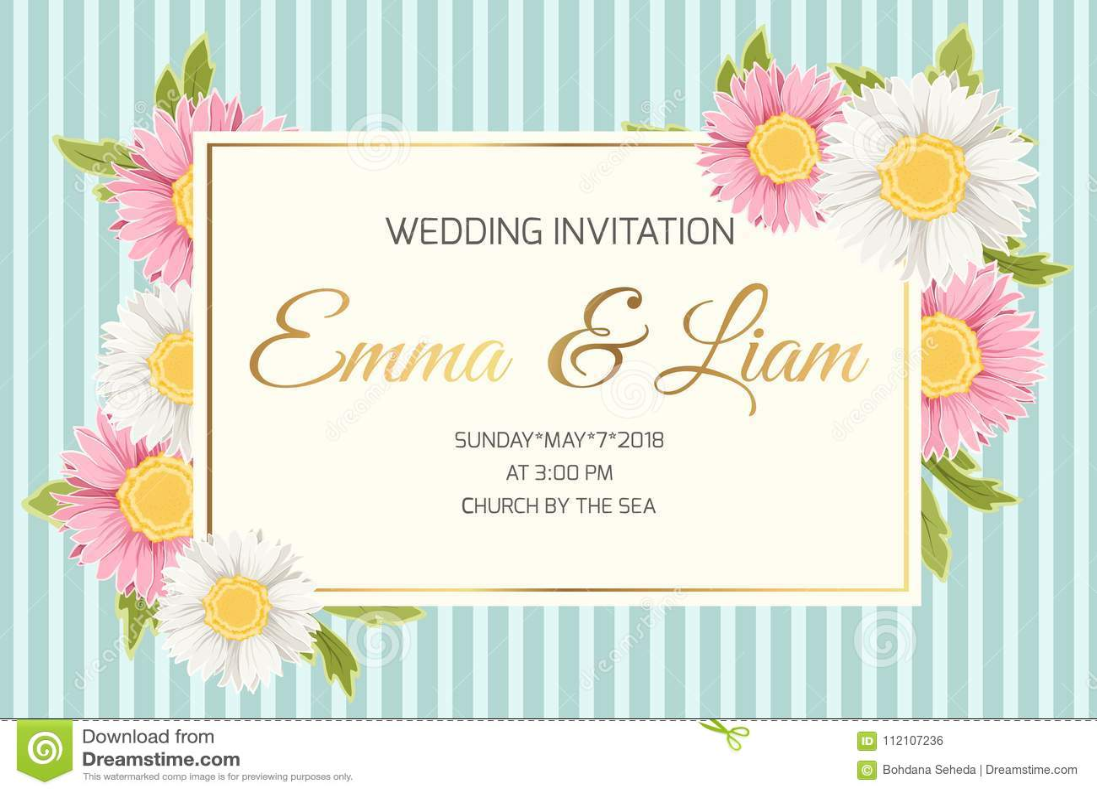 Wedding Invitation Daisy Aster Chamomile Flowers Stock Vector