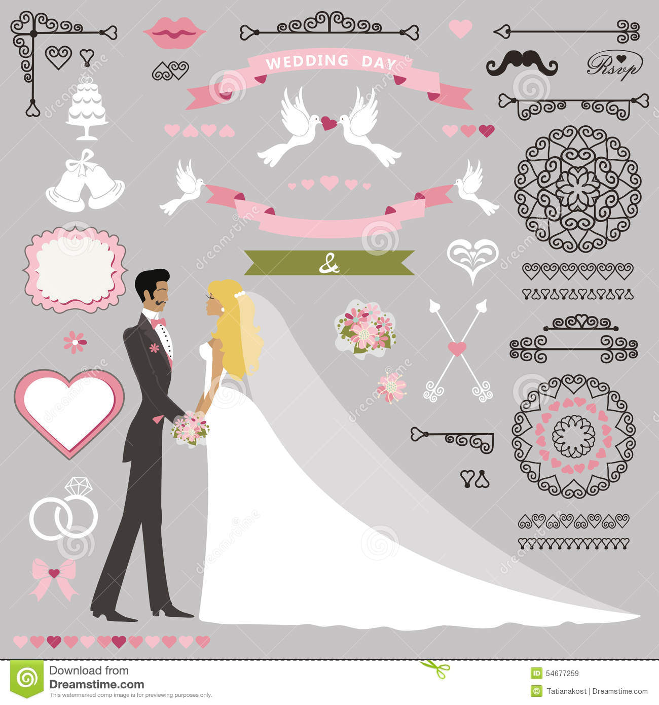 Wedding Invitation Decor Set With Kissing Stand Stock Vector Image 54677259