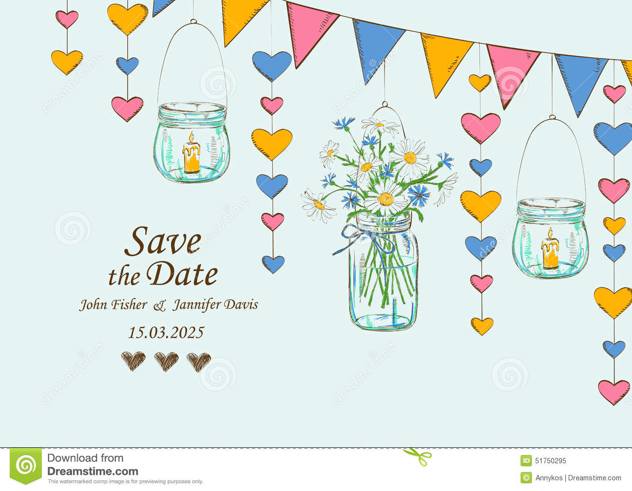 Wedding Invitation With Rustic Decoration Of Hanging Mason Jars Flowers Candles And Garlands Save The Date Concept