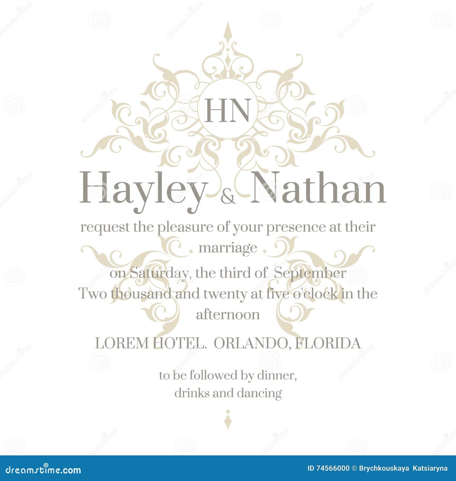 Wedding Invitation. Decorative Floral Frame And Monogram. Stock ...