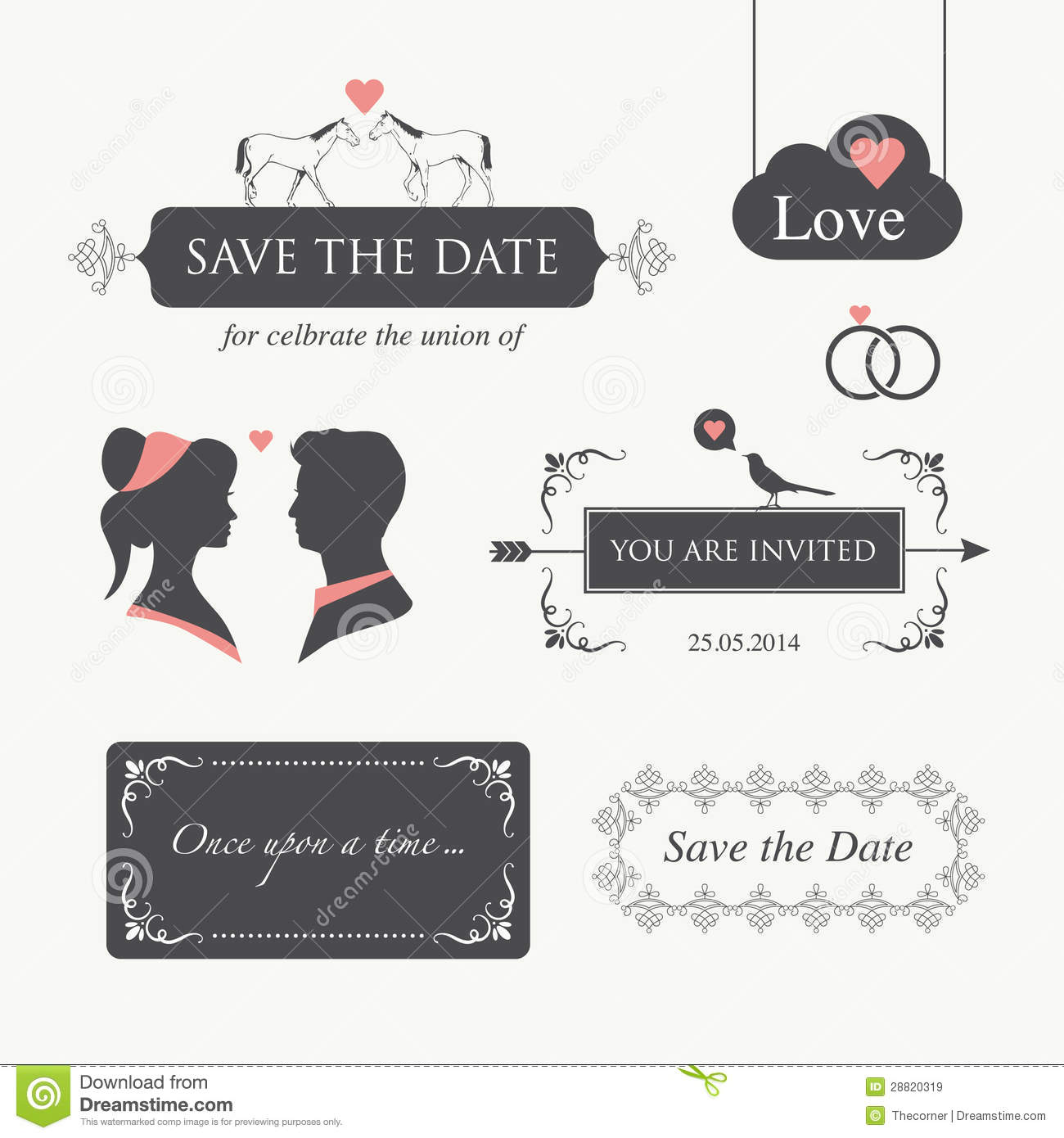 Wedding Invitation Design Element Stock Illustration - Illustration ...