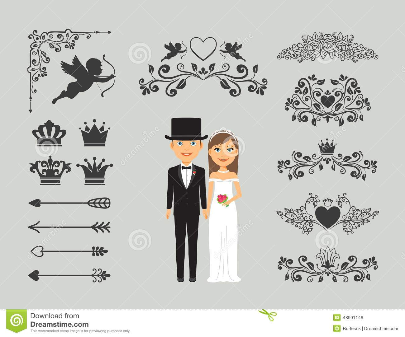 Wedding invitation design elements stock vector illustration of download comp junglespirit Image collections
