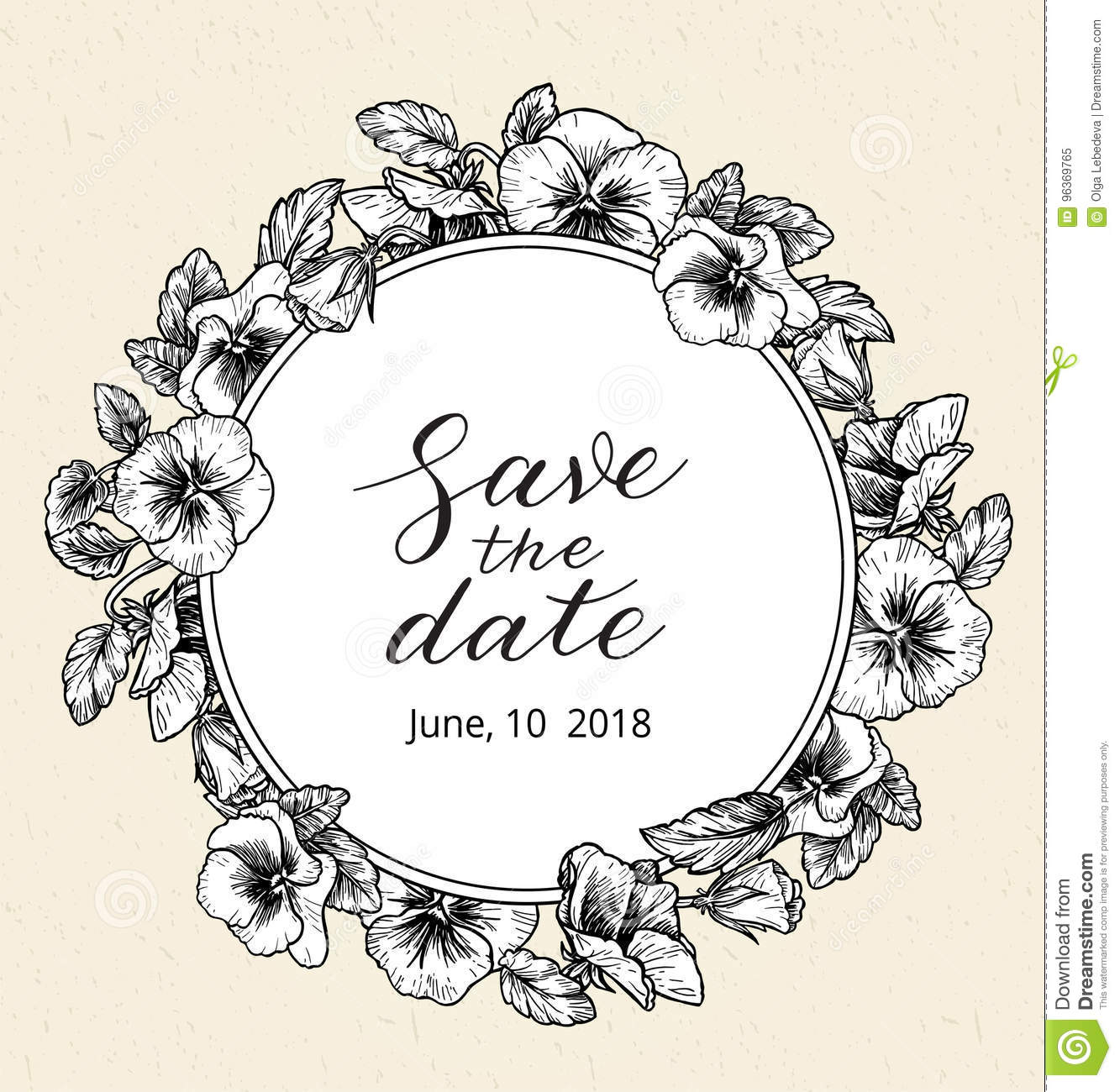 wedding invitation design template with save the date text and frame