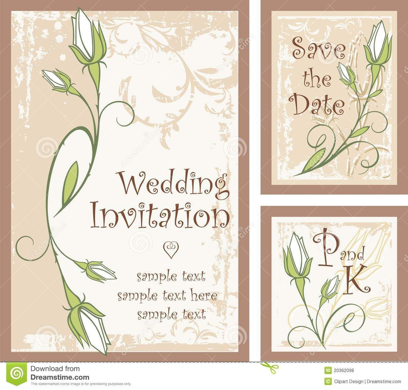 Wedding Invitation Designs Set With Rose Buds Royalty Free – Invitation Designs