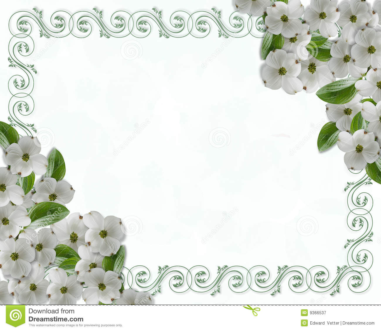 Wedding Invitation Dogwood Border Stock Illustration