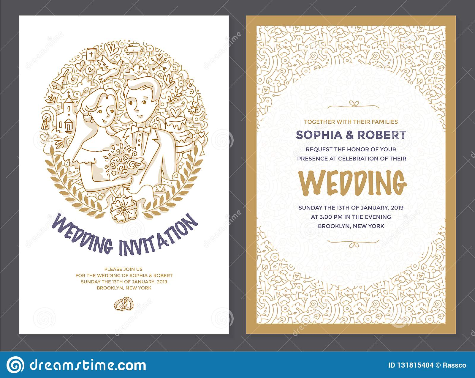 Wedding Invitation Doodle Card Stock Vector - Illustration of card
