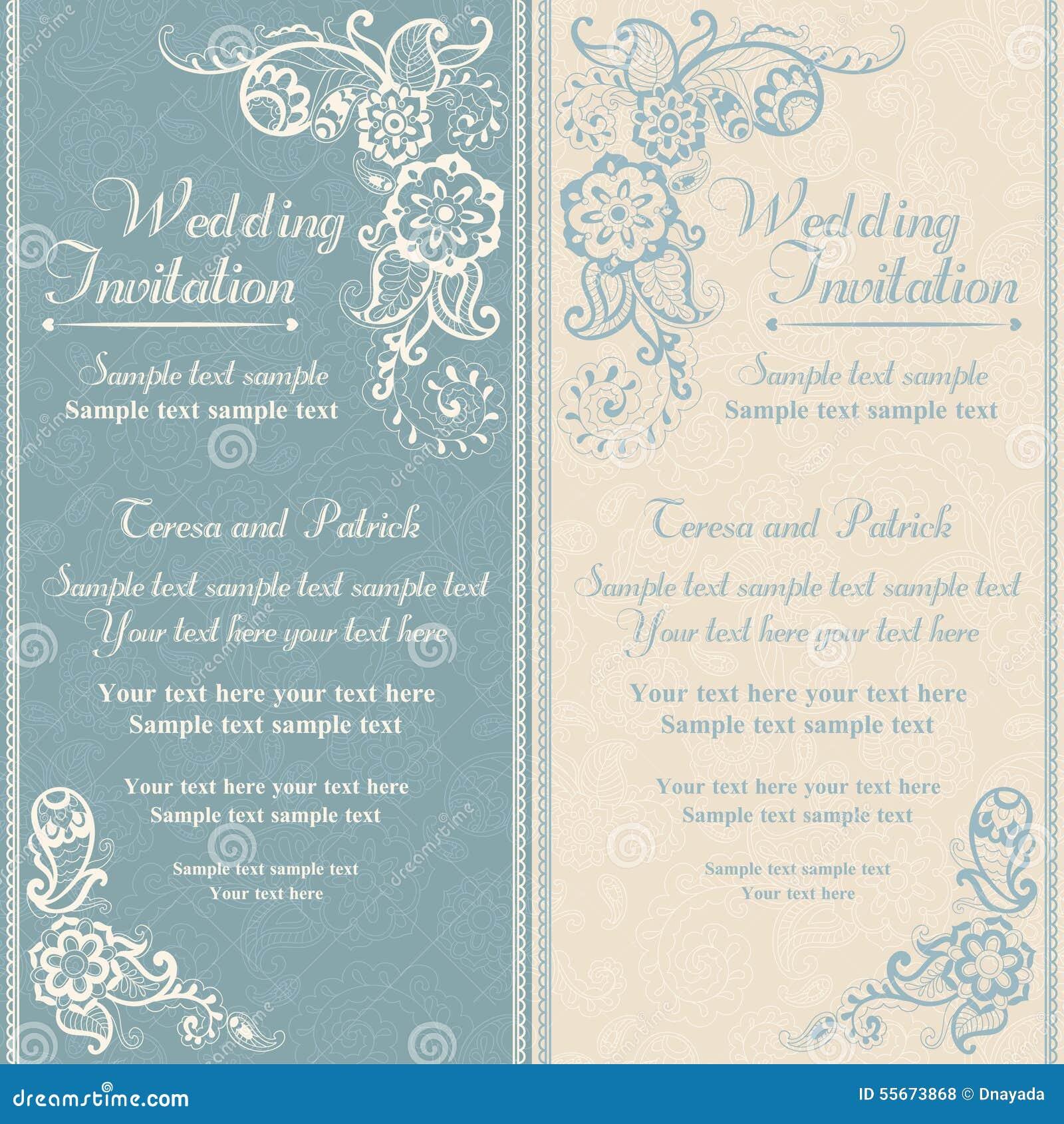 Wedding invitation in east turkish style blue stock vector moderne hochzeitseinladung goldspitze