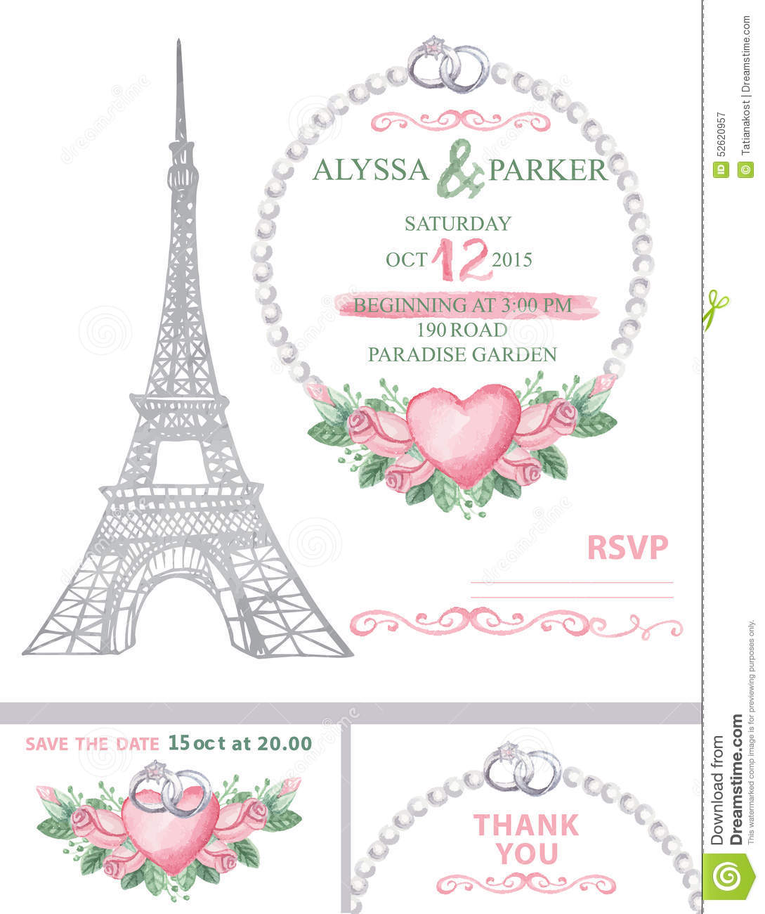 wedding invitation eiffel tower watercolor rose stock photo image 52620957. Black Bedroom Furniture Sets. Home Design Ideas