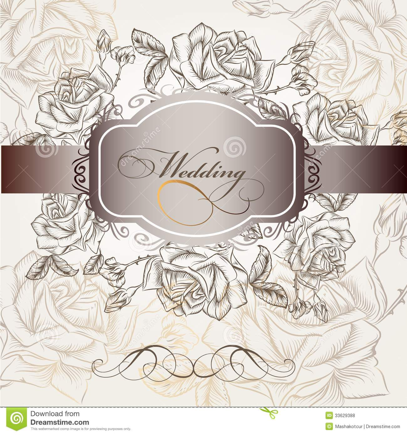 Wedding invitation in elegant style with roses stock vector wedding invitation in elegant style with roses stopboris Image collections