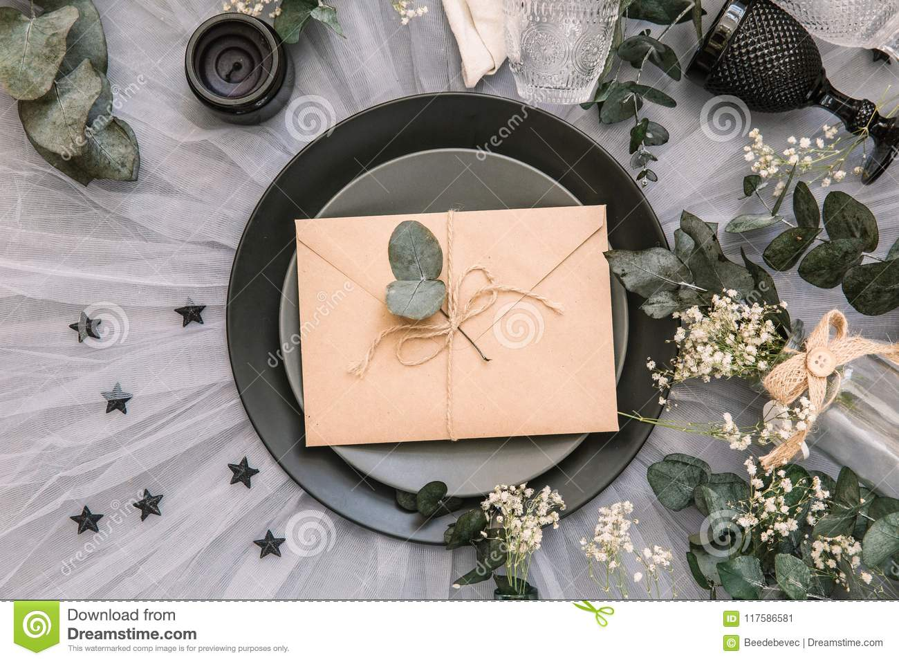 Wedding Invitation Envelope Reception Table Setting With Rustic