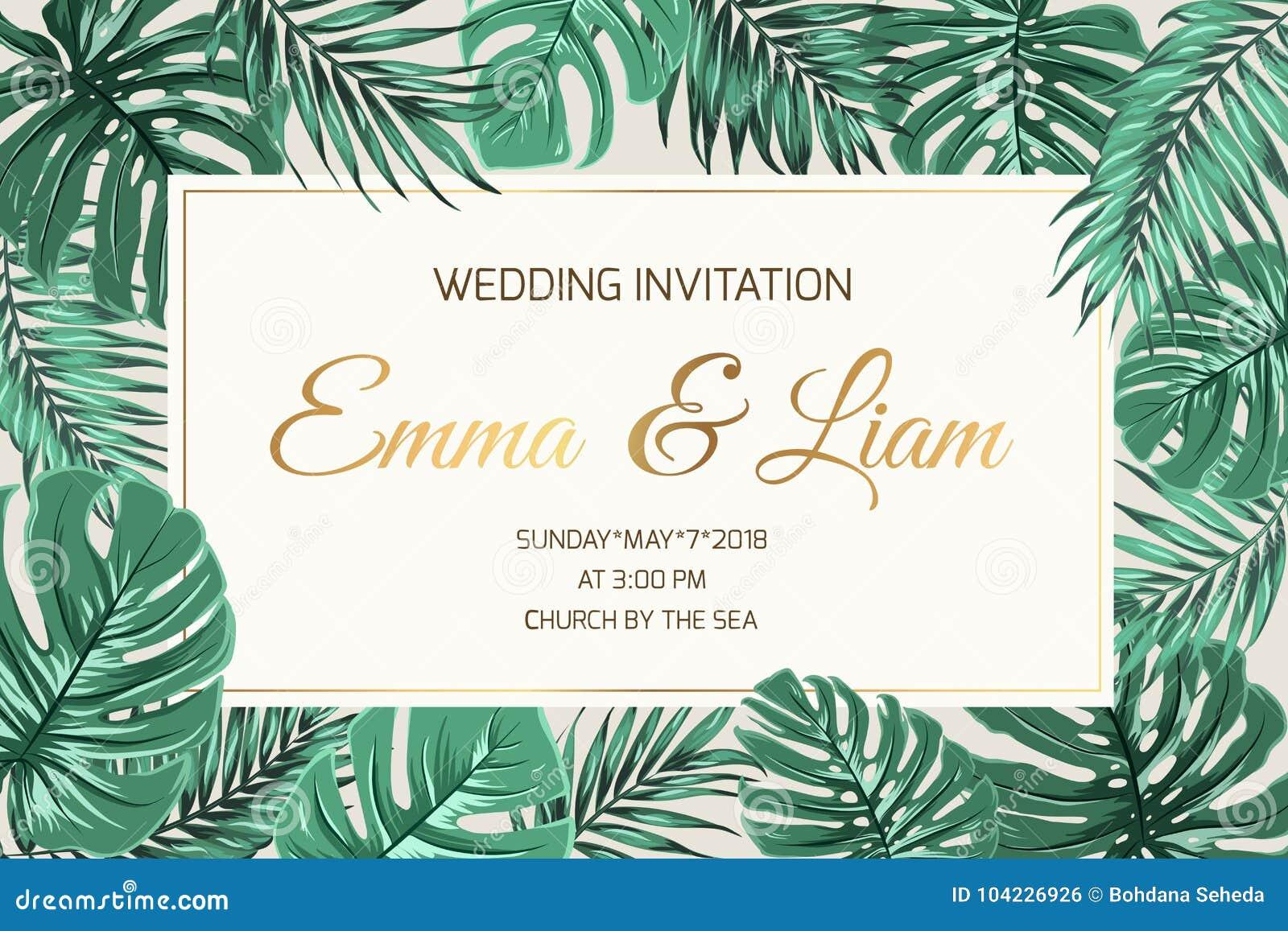 Wedding invitation exotic green leaves golden text stock vector wedding invitation exotic green leaves golden text stopboris Images