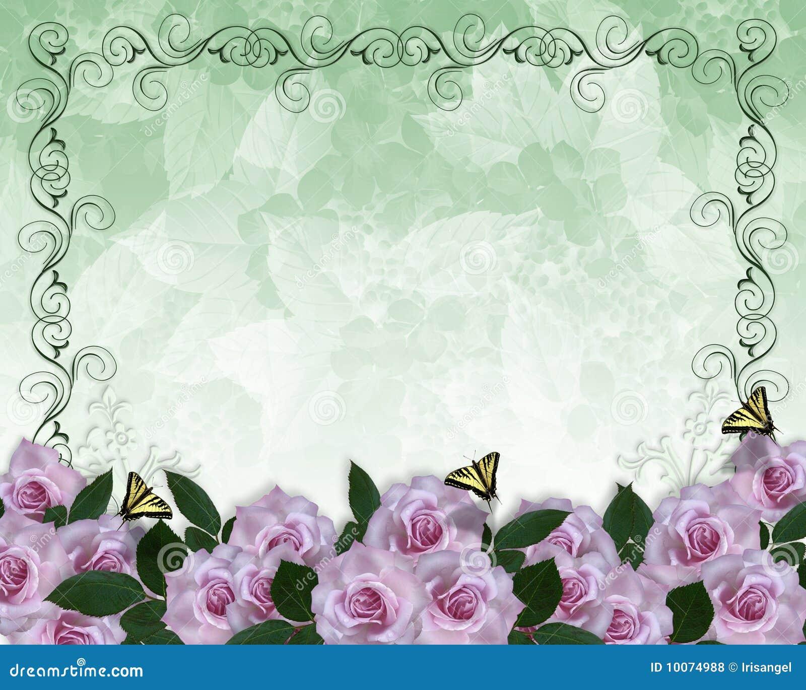 Wedding Invitation Floral Border Lavender Roses Stock Illustration