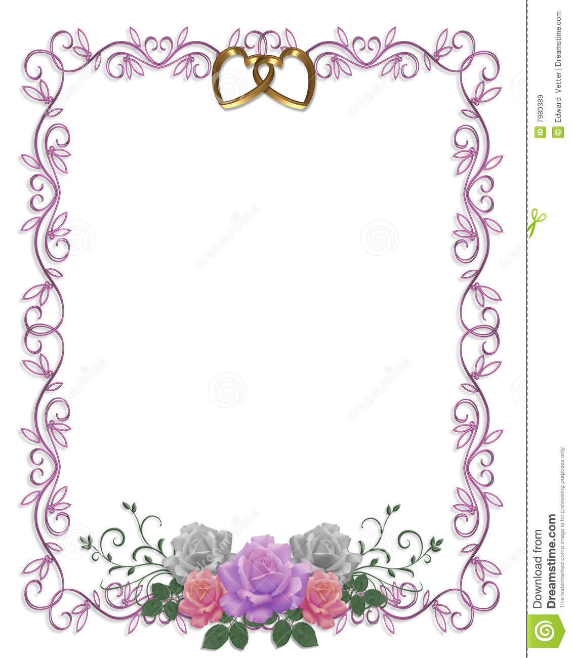Transparent Wedding Frame with Rings and Pink Roses ... |Flower Border Designs For Wedding Cards