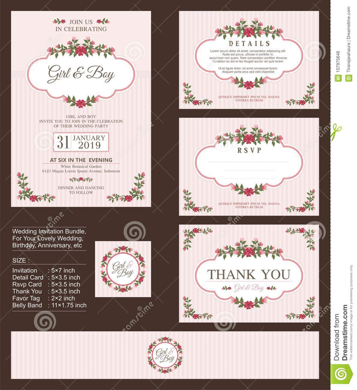 wedding invitation with floral bouquets and wreath design stock