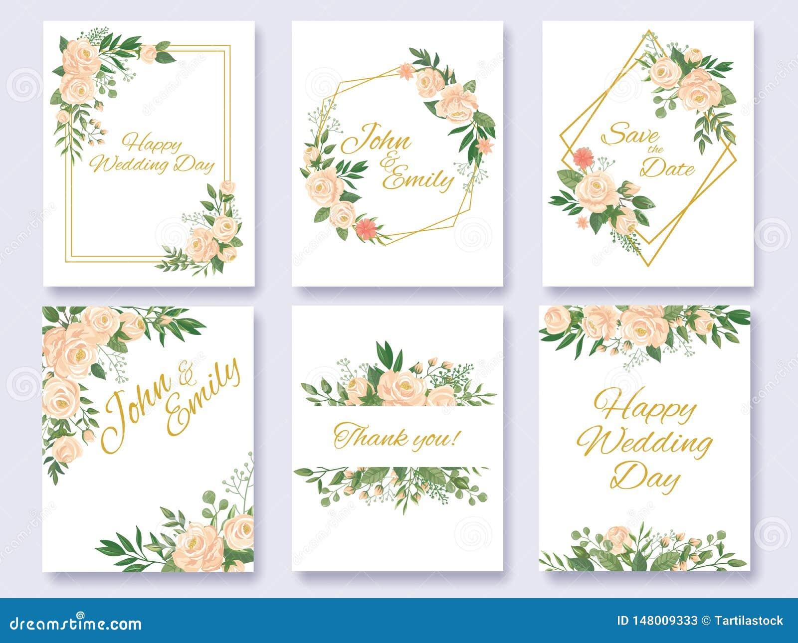 Wedding Invitation Floral Card Flowers Frames Rose Flower