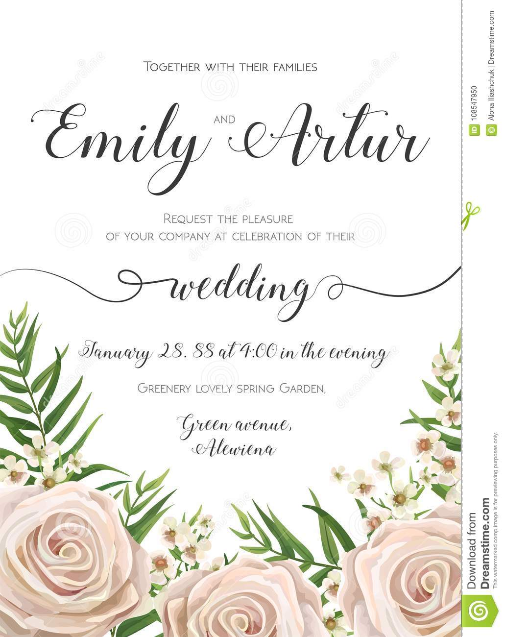 Wedding Invitation Floral Invite Card Design With Creamy White Garden Rose Flowers Wax Flower Green Tropic Palm Tree Leaves Greenery Border Frame: Floral Wedding Invitations With Tree At Websimilar.org