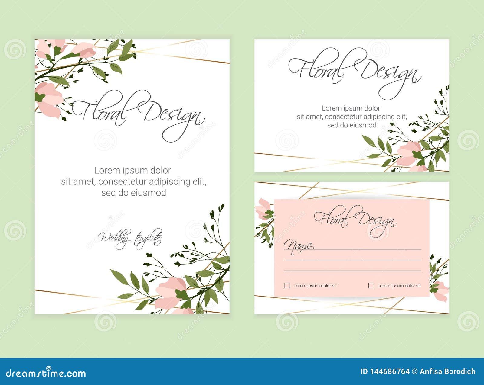 Floral Invite Card Design Eps 10 Stock Vector