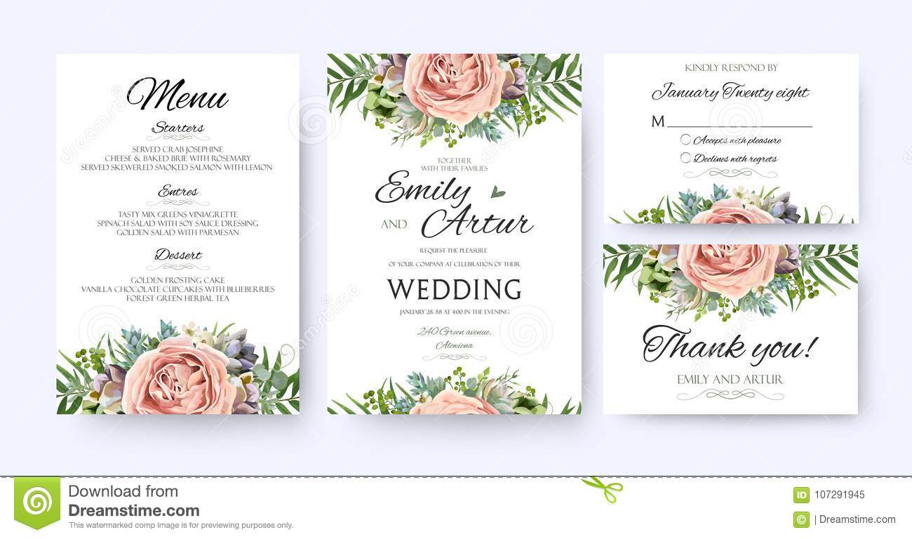 Wedding Invitation Floral Designs Vector