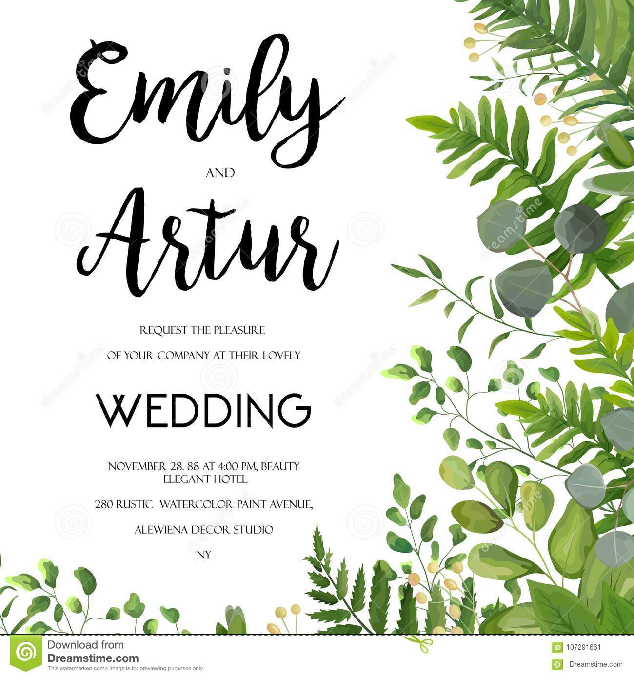 Wedding Invitation Floral Invite Card Design With Green