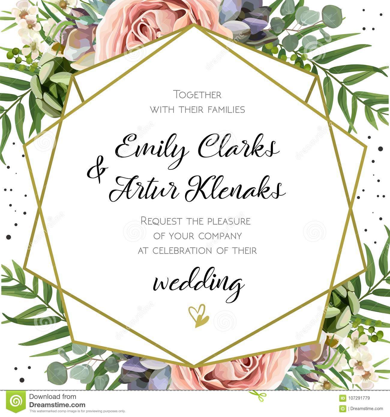 Wedding Invitation, floral invite card Design: Peach lavender pi